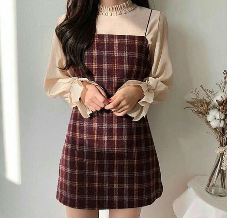 Korean Style Checker Dress